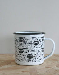 taza metalica gatos
